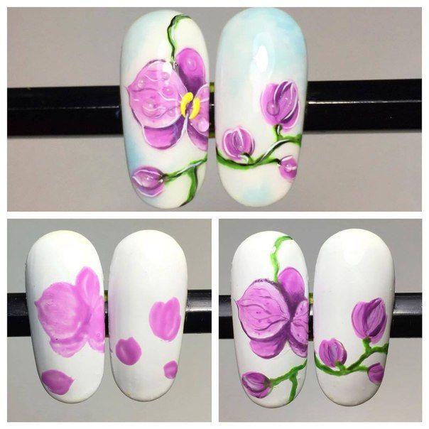 Орхидеи на ногтях шеллаком фото пошагово всё это