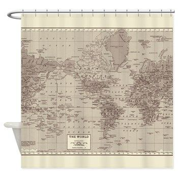 World Map Shower curtain- minimalist travel decor - home - Bathroom - maps, antique brown, cream, wanderlust,