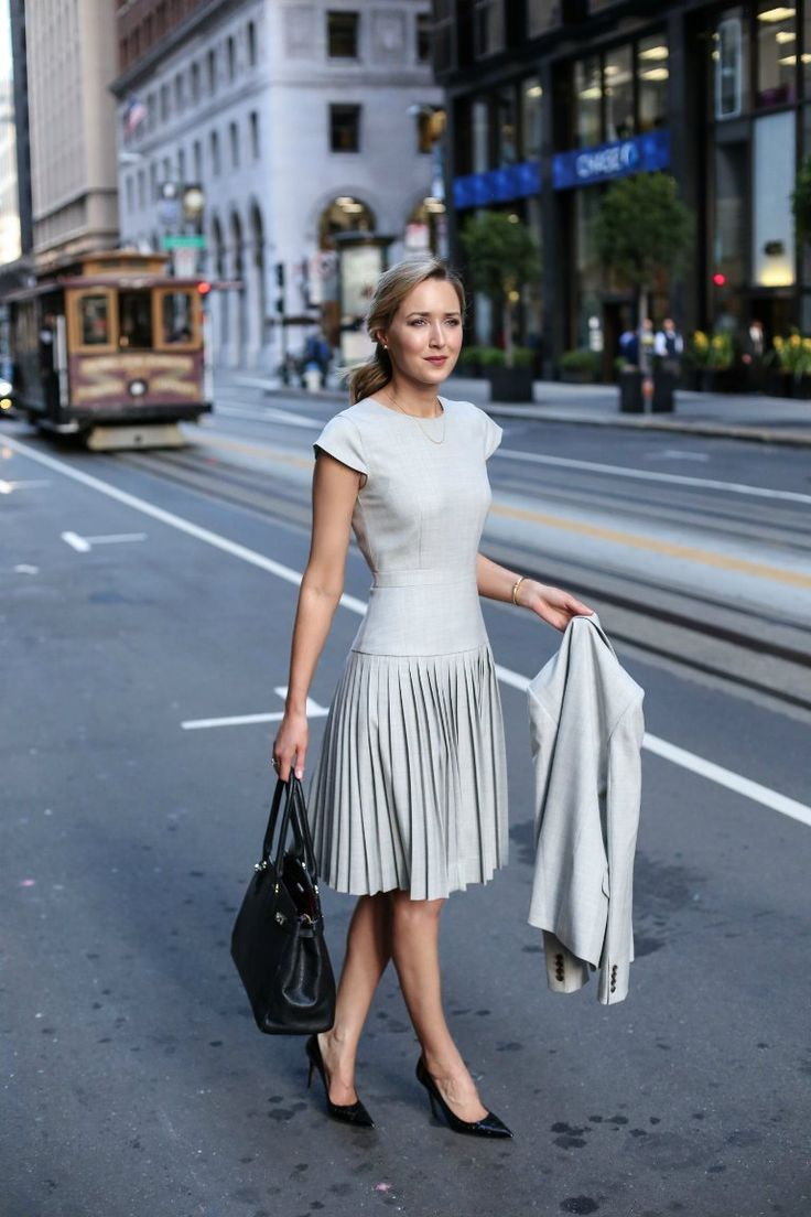 fit and flare dress with classic pumps