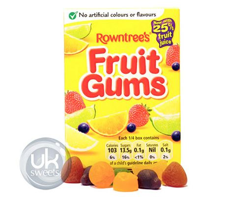 Rowntrees Fruit Gums Box. Visit our online shop - we deliver all over Australia! Great prices, great service and an amazing range of English Sweets & Lollies. www.uksweets.com.au
