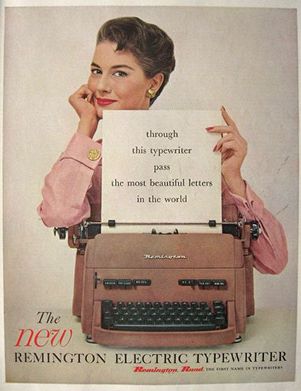 1955 Remington Electric Typewriter Ad - The Most Beautiful Letters