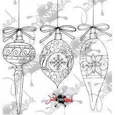 Digital Stamp Christmas Baubles