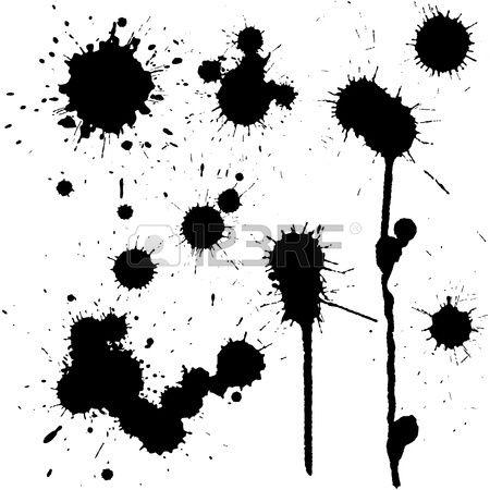 Conjunto de manchas de tinta en blanco y negro Foto de archivo