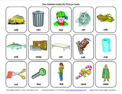 Testy yet trying: Initial K: Free Speech Therapy Articulation Picture Cards