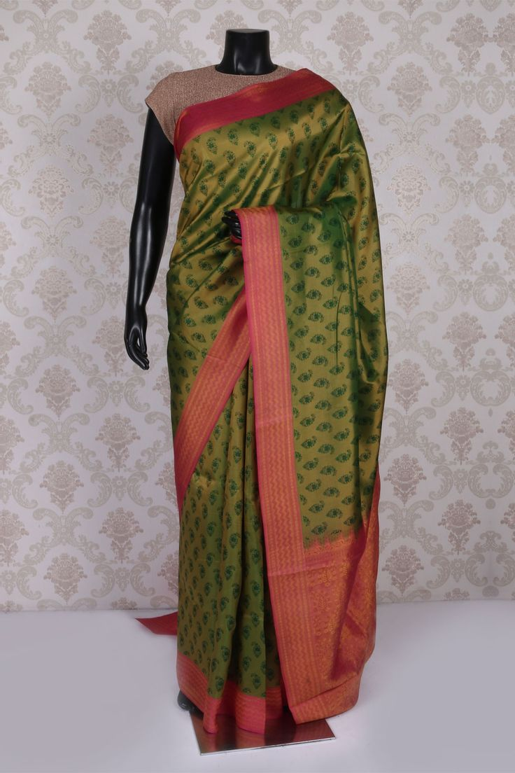 Olive #green multicoloured tussar silk enticing #saree with weaved pallu…