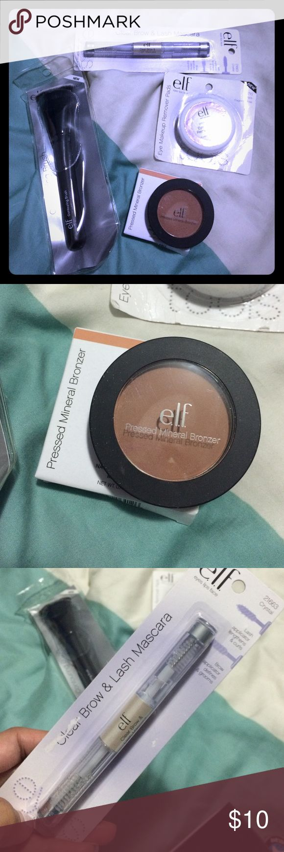 E.L.F. Lot - Bronzer, Brow Mascara, Brush, etc elf Mixed lot.  Contour brush, bronzer in tam toffee (swatched once), lash/brow mascara and eye make up remover pads ELF Makeup