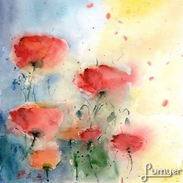 Title:Wild poppies-Size:27*30c.m-Watercolour on Paper-2017-  لطفا براى خريد نقاشيها دايركت بزنيد.  My paintings are for sale