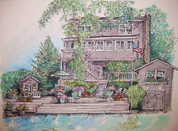 Watercolor House PaintingOriginal Custom by HousePortraits on Etsy,