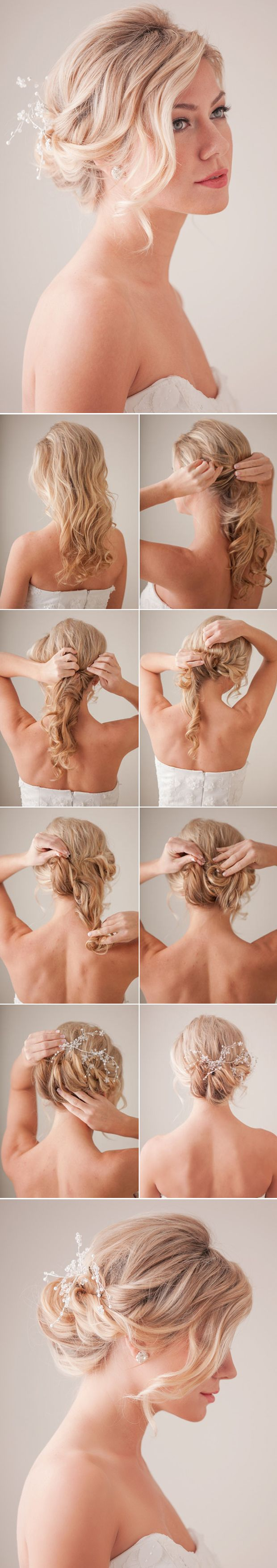 DIY curly bridal updo wedidng hairstyle