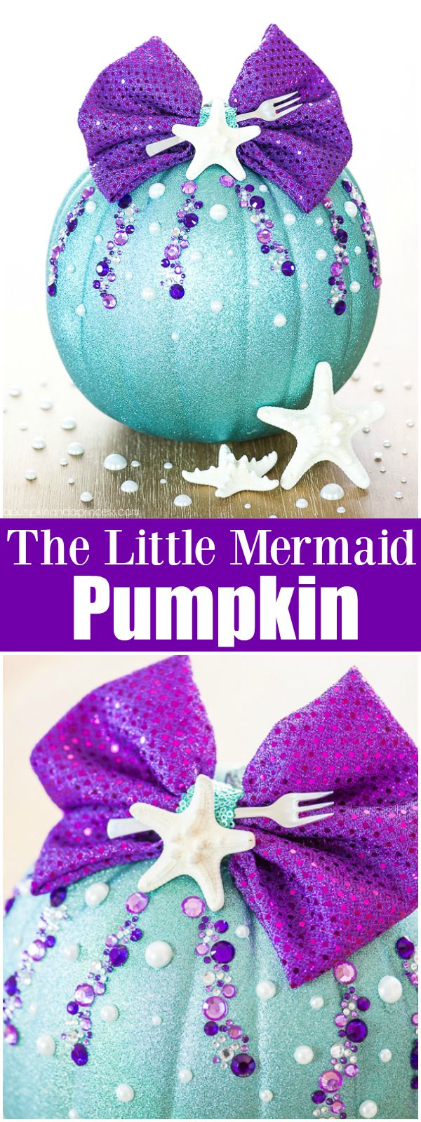 DIY No-Carve Little Mermaid Pumpkin – how to make a Disney Ariel inspired pumpkin with glitter, pearls, seashells and a mini fork to complete your under the sea creation. - unique pumpkins - fall decor - kids room fall - princess crafts - princess pumpkin - Disney pumpkin