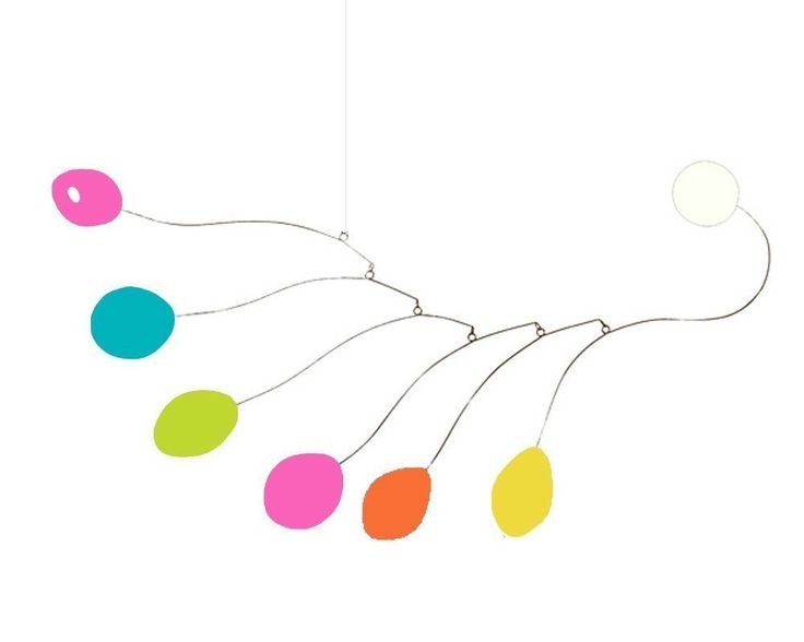 """Colorful Midcentury Mobile - Choose From 3 Sizes - Calder Inspired Retro Modern Hanging Art. """"Midcentury"""" is a delightful modern hanging art mobile inspired by Alexander Calder and mid century modern style. I take inspiration from Calder and create a new and unique kinetic art sculpture for your home, office, or baby nursery. Whimsical abstract shapes dance in the slightest breeze. Includes simple instructions, strong nylon line, two """"S"""" hooks, and an eye hook for hanging from ceiling. No..."""