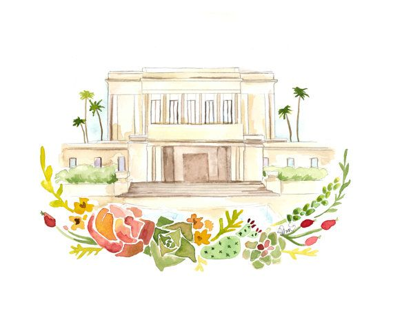 Mesa Arizona LDS Temple Watercolor Mesa Temple by Could I embroider this?