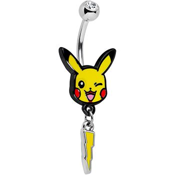 Officially Licensed Pokemon Pikachu Lightning Bolt Dangle Belly Ring | Body Candy Body Jewelry