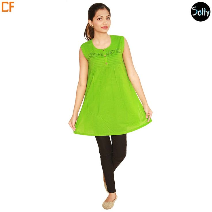 Lime green kurti in cotton material. Opt for cotton as it is a natural product and has many advantages, such as, it's ability to control moisture, insulate, weatherproof and a durable fabric. The kurti has a U-shaped neckline, without sleeves, side slits and a figure defining fit. Pintucks and button placket on the overlay. http://www.droomfashion.com/shop/kurtis/lime-green-cotton-kurti/