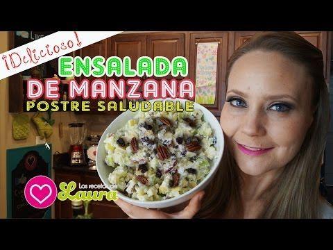 Como hacer ENSALADA DE MANZANA con nueces y pasas - Comida Saudable - YouTube