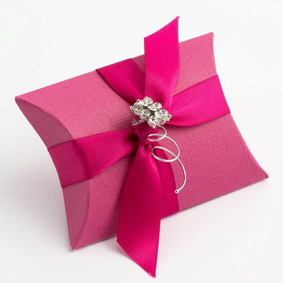 10 Hot Pink Silk Pillow Boxes by FavourThis on Etsy