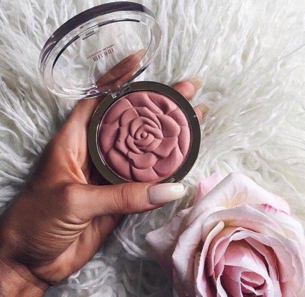 Make-up: rose pink blush pink face makeup cheek blush blush cute flowers makeup palette