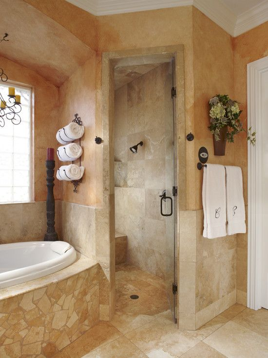The spa shower door is a great touch to a bathroom.  Have it installed to swing in, instead of out.  This will help allow you to keep the door open so the space can dry and will cut down on mildew.  Lisa Wills