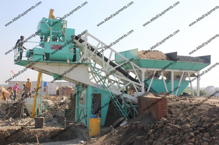 Mobile RMC plant with twin shaft mixer.