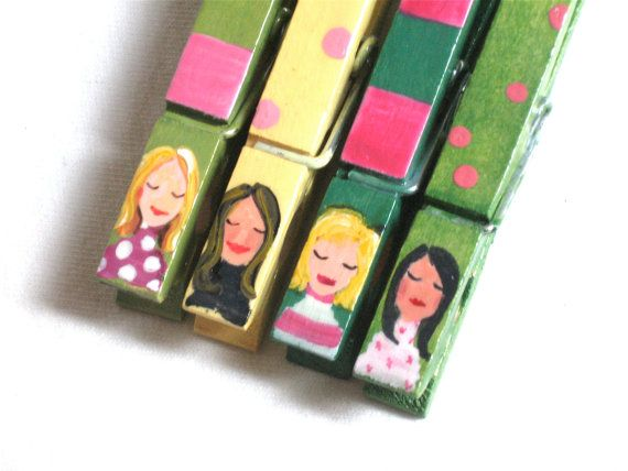 girl clothespins hand painted magnets by SugarAndPaint on Etsy
