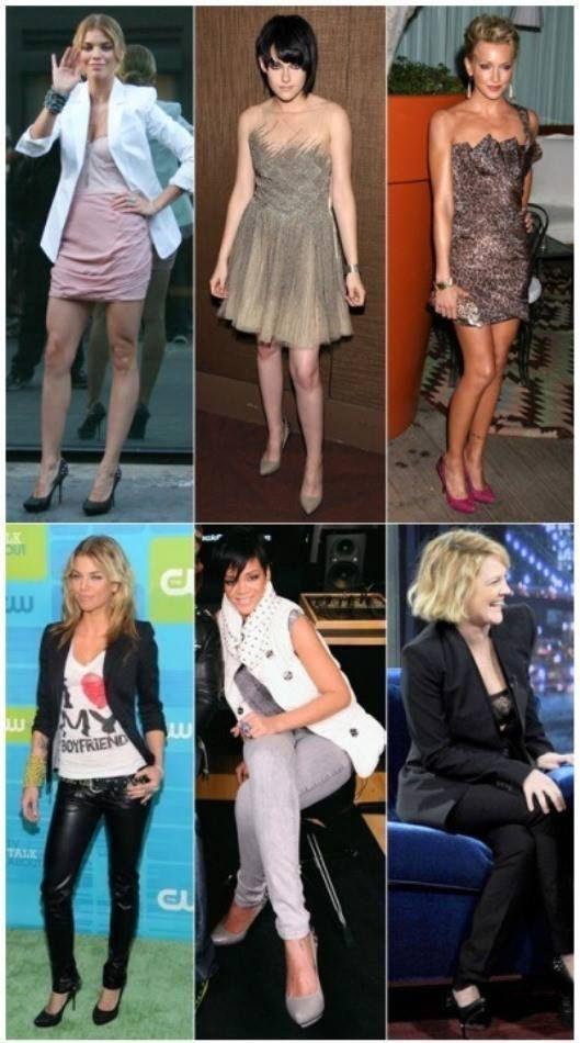 От ляво надясно: Анналинн Маккорд, Кирстен Стюарт, Кейти Касиди. Отдолу, в средата е Риана, от нейно ляво е отново Анналинн Маккорд, а в дясно е Дрю Баримор. И петте холивудски диви са с обувки от Rock & Republic. Коя според Вас, ги носи най-добре?