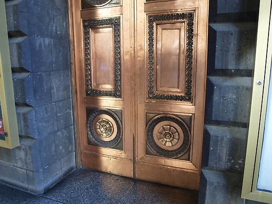 wonder who has the *pleasure* of polishing this door? by byzantinehalo  Most interesting copper door at the Melbourne Town Hall, Swanston Street, Melbourne.