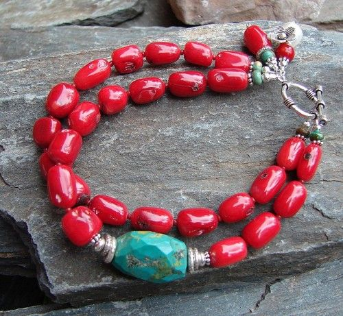 Coral & Turquoise strung bracelet.