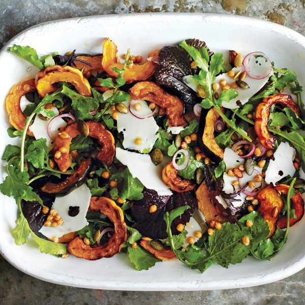Roasted Acorn and Delicata Squash Salad - Cooked wheat berries bulk up this mustard greens and arugula salad.