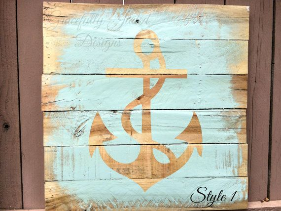 Teal Anchor Pallet Sign anchor wedding anchor by gracefullyjaded