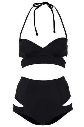 Black Slashed Cut Out Bikini