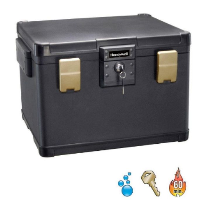 1.06 cu. ft. Molded Fire/Water Chest with Key and Double Latch Lock Black