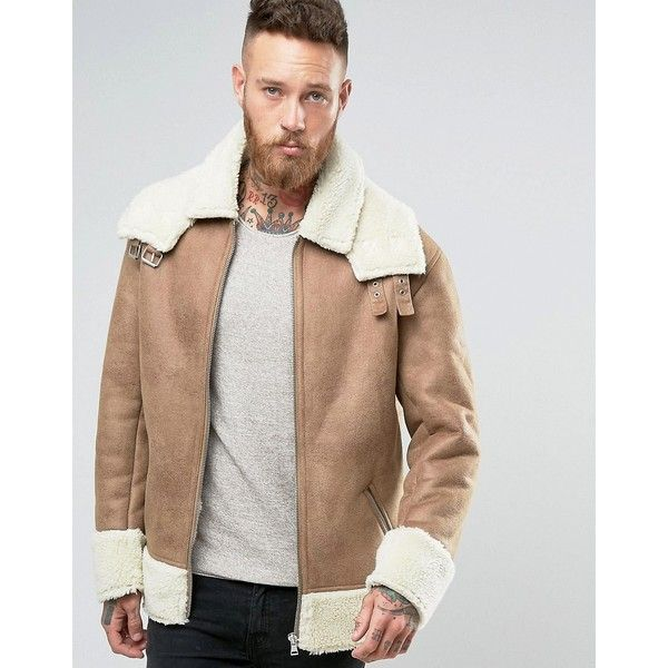 ASOS Oversized Shearling Jacket in Camel ($121) ❤ liked on Polyvore featuring men's fashion, men's clothing, men's outerwear, men's jackets, brown, asos mens jackets, mens shearling jacket, mens brown jacket, mens zip up jackets and tall mens jackets