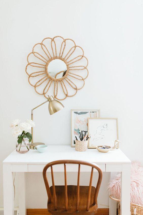 White bohemian desk space   follow @shophesby for more gypset boho modern lifestyle + interior inspiration