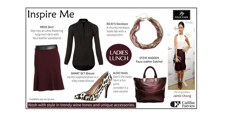 Lunching with the ladies, or heading out with colleagues? Nosh with #style in a #trendy burgundy tulip skirt and fun printed pumps. #ppinspireme