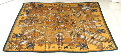 Available mightychic.com Hermes Shawl coveted KACHINAS large Cashmere Silk Vintage