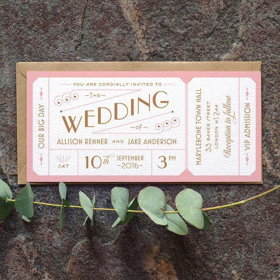 Destination Ticket Wedding Invitation / 'Just by twoforjoypaper