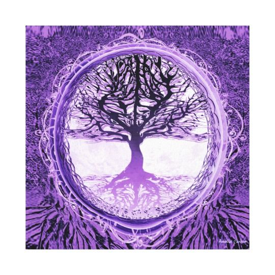 Purple home decor is absolutely adorable no matter if you like pale purple, lavender, lilac, magenta or violet purple home decor.  A purple themed home is easy to achieve by using purple wall art, purple throw pillows, purple throw blankets and purple area rugs.  Use this along with other purple wall art to create a relaxing, funky home decor theme #purple  Tree of Life in Purple Canvas Print