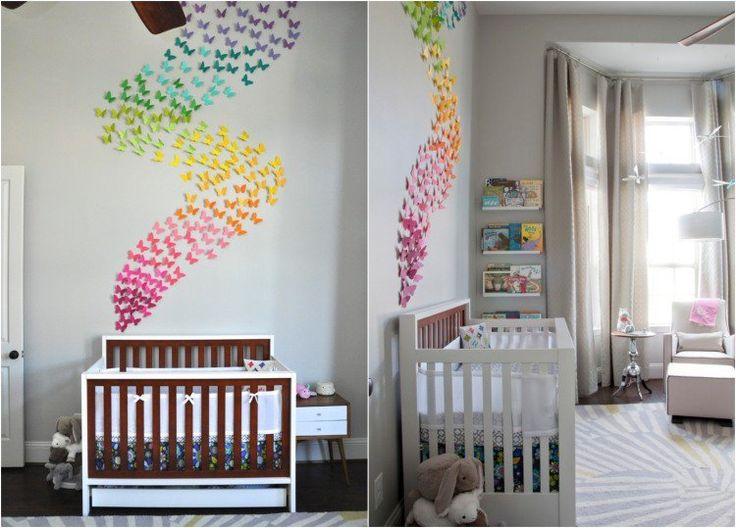 décoration chambre bébé en papillons en papier à 3D