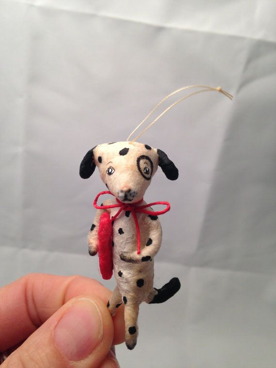 Spun Cotton white spotted dog Valentine ornament by by spuncotton