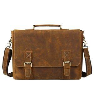 Men's Handmade Vintage Leather Briefcase / Messenger / 17″ MacBook Pro 16″ Laptop Bag (n14L-2)