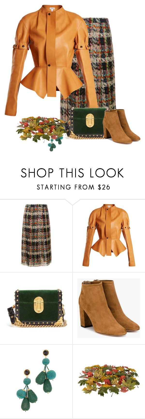 """Plaid pleated skirt"" by gagenna ❤ liked on Polyvore featuring Blumarine, Loewe, Prada, Aquazzura, Lizzie Fortunato, contest, plaidskirt, fallstyle and blumarin"