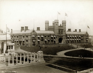 1904 World's Fair Administration Building (Brookings Hall, Washington University) seen from the southeast with the Italian Pavilion in the foreground.