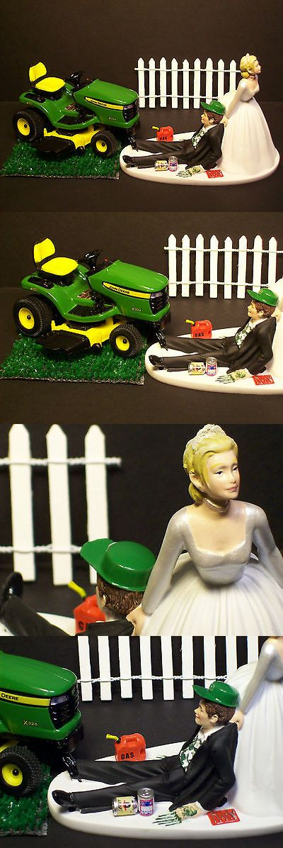 Wedding Cakes Toppers: No Cutting Grass Bride And Groom W Diecast John Deere And Hat Wedding Cake Topper -> BUY IT NOW ONLY: $139.99 on eBay!