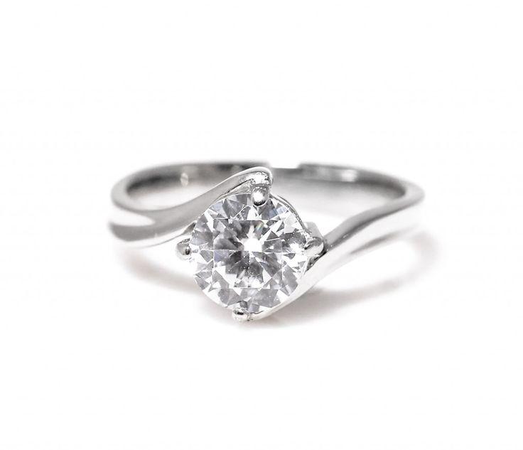 Delta Titanium Engagement Ring with Swarovski