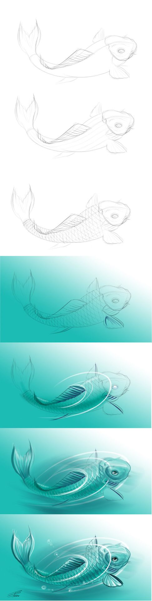 How To Draw A Koi Fish I took screenshots along the way, i hope it helps!Final picture can be found here: [link] by ~davepinsker