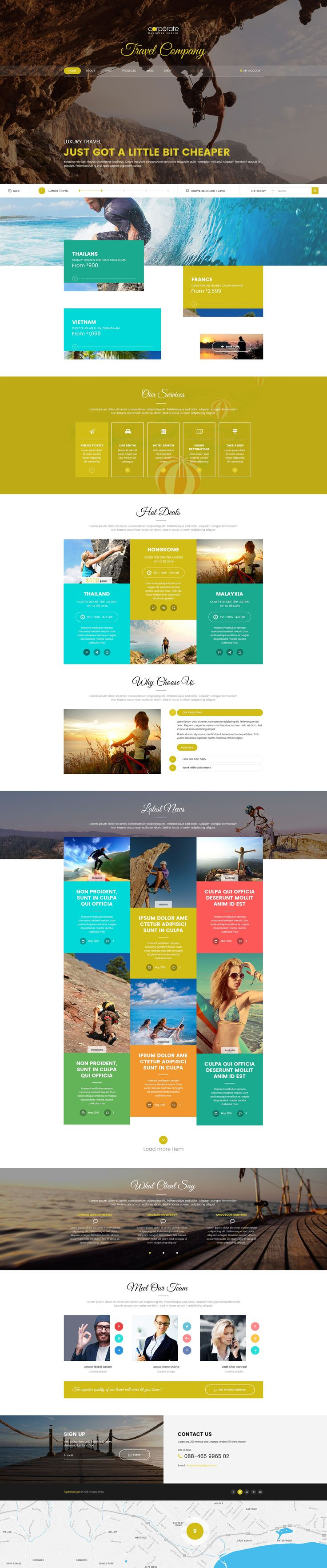 Best Premium Travel Agency PSD Template Download