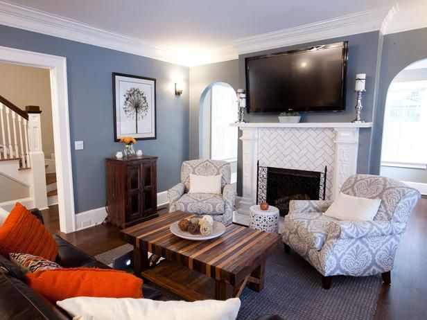 Popular makeovers from the HGTV hit series, Property Brothers -->  http://hg.tv/vyjwWall Colors, Property Brother, Coffee Tables, Blue Wall, Subway Tile, White Trim, Living Room, Painting Colors, Gray Wall
