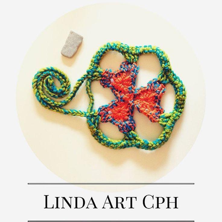 Green-orange stone #crochet #necklace