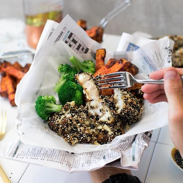 YouFoodz | Ultimate Fish & Chips $9.95 | Fish coated in macadamia and quinoa crumb with a beautiful teriyaki marinade. We've paired this with baked sweet potato chips, broc and a sachet of teriyaki sauce for good measure | #Youfoodz #HomeDelivery #YoullNeverEatFrozenAgain