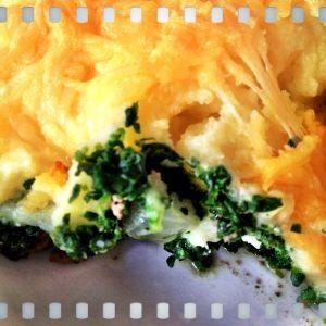 Ovenschotel met gehakt, spinazie en aardappelpuree